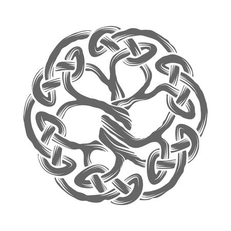 nudos: Ilustración del árbol de la vida céltico