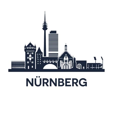 독일의 도시 뉘른베르크의 추상 스카이 라인 일러스트