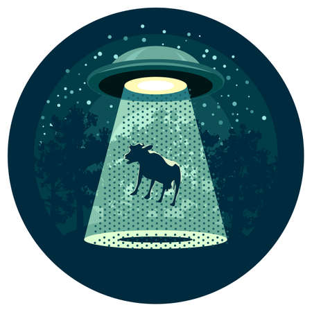 invasion: Flying saucer catching a cow in the night wood. UFO concept.