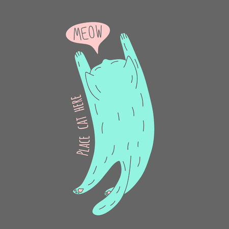 meow: Cute meowing cat, top view, vector illustration