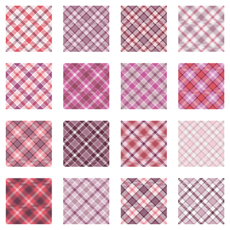 plaid patterns: Plaid patterns collection, 16 seamless tartan patterns, different shades of pink