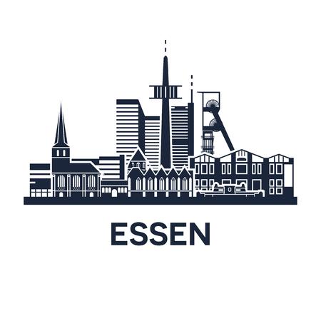 Abstracte skyline van de stad Essen in Duitsland, vector illustratie