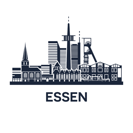 Abstract skyline of city Essen in Germany, vector illustration