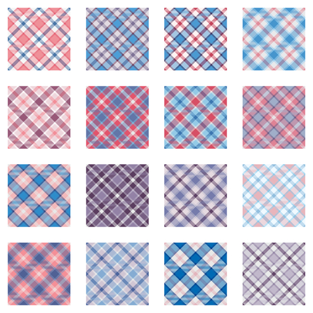 plaid patterns: Plaid patterns collection, 16 seamless tartan patterns, different shades of pink anmd blue
