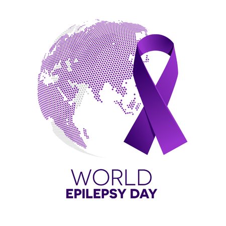 Purple ribbon made of dots on white background. World epilepsy solidarity day. Purple epilepsy awareness ribbon. Isolated vector illustration.