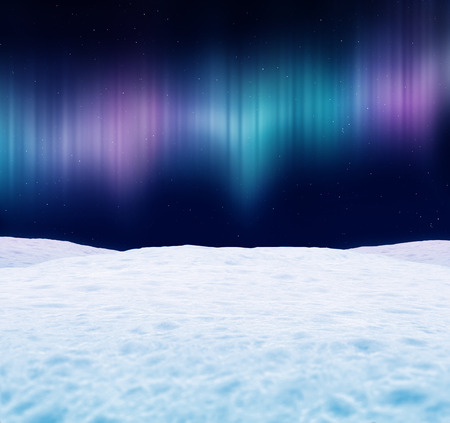 Winter landscape at night. Aurora borealis and stars in the sky. 3D illustration. Фото со стока