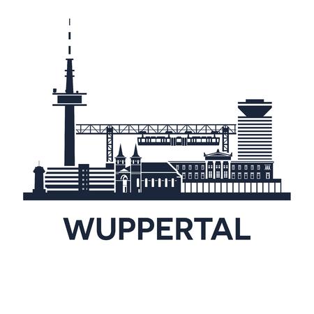 Abstracte skyline van de stad Wuppertal in Duitsland, vectorillustratie Stock Illustratie