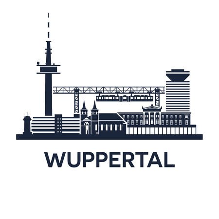 Abstract skyline of city Wuppertal in Germany, vector illustration