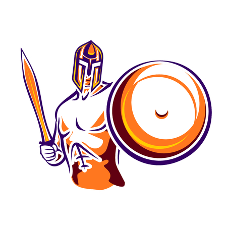 sparta: Spartan warrior. Abstract ancient soldier with a sword and a round shield