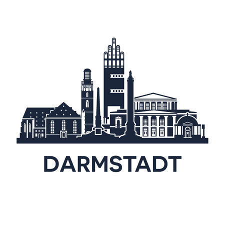 market place: Abstract skyline of city Darmstadt in Germany, vector illustration Illustration