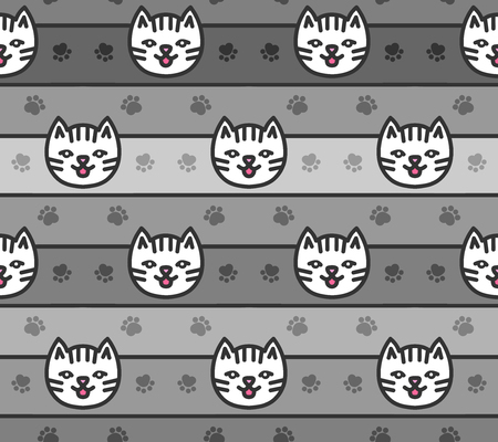 Seamless pattern of cats heads