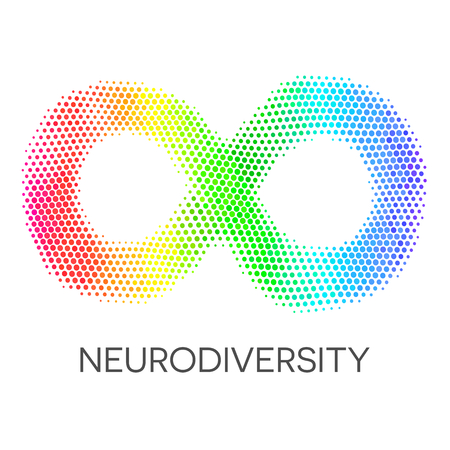 Neurodiversitätssymbol. Regenbogen Infinity Loop.