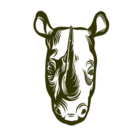 Kopf des afrikanischen Nashorns Illustration