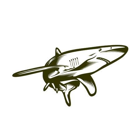 Großer Hai, Gravur Stil Vektor-Illustration Illustration