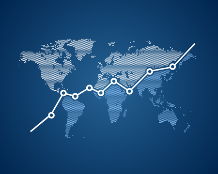 Economic growth in the world, a ascending graph with the world map in background. Illustration