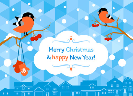 Winter greeting card with two bullfinches and abstract houses in the background