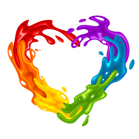 Collection of vibrant splashes in LGBT colors, vector illustration