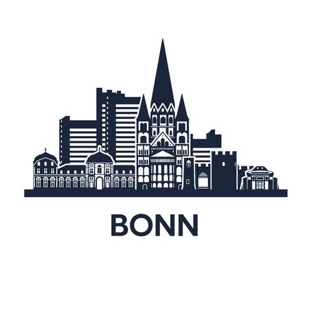 Bonn Skyline Emblem Illustration
