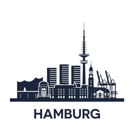 Hamburg city skyline, Germany, detailed version, solid color