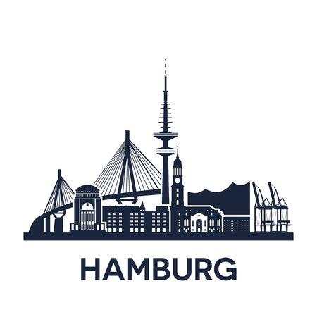 Skyline von Hamburg, Deutschland, erweiterte Version, einfarbig Vektorgrafik