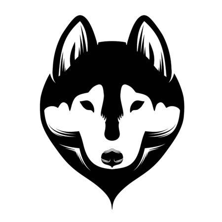 Cabeza de un perro husky siberiano. En blanco y negro.