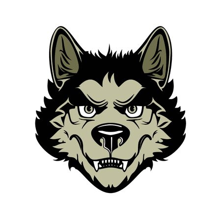 Head of angry werewolf. Vector illustration on white background