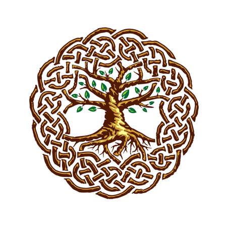 Illustration of celtic tree of life, Yggdrasil, vector illustration
