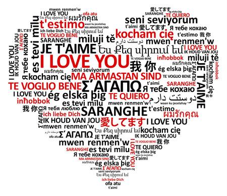 forma de corazón del amor del mundo en varios idiomas