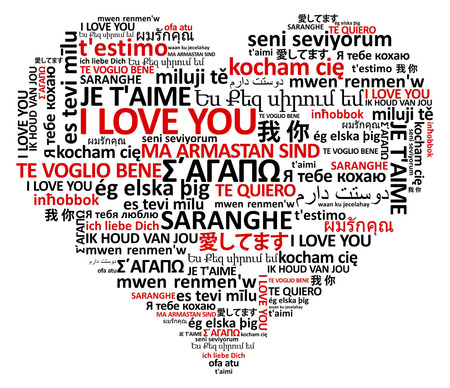 love words: heart shape made of the world love in many languages