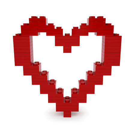 Red valentine heart made of blocks photo