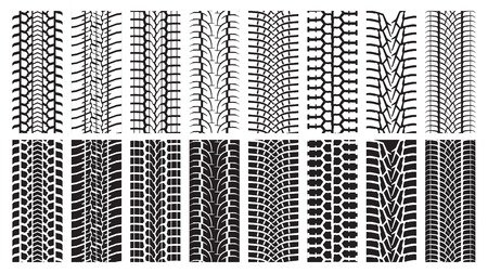 A set of detailed tire prints. Eight tracks white and eight black. Vector