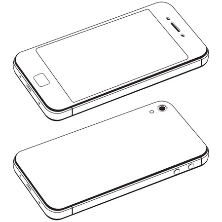isolation: Modern smart phone isolation vector. Black and white drawing in the style of minimal Illustration