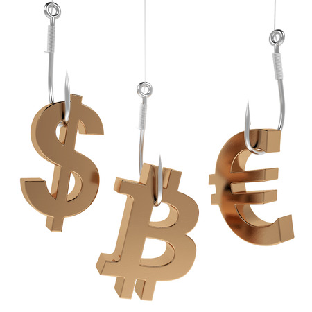 baited: Money icon on fish hooks isolated on white background.
