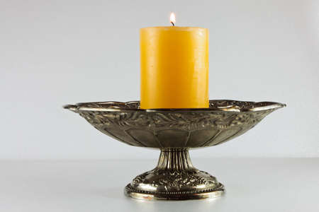 Flame, flaming orange candle photo