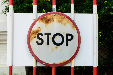 sign pole: Stop Traffic Sign Stock Photo