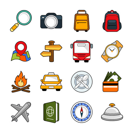 magnyfying glass: Holiday  vacation, icon set