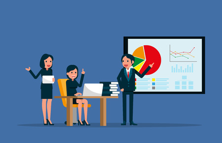 Business team working together in office. Vector illustration meeting concept.