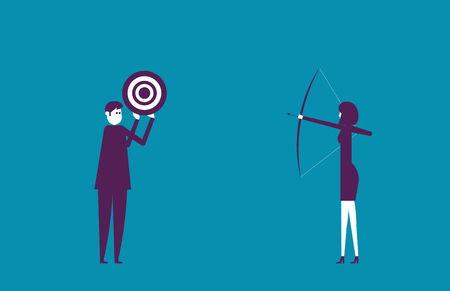 Business leaders aim at the target. Vector illustration business success concept. Illustration