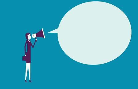 Businesswoman communication through megaphone