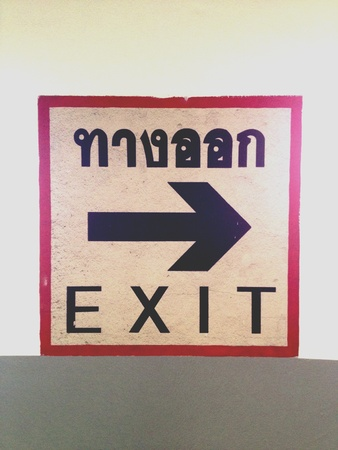 exit sign: Exit sign in Thai