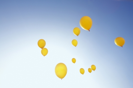 11 yellow balloons flying into sunny blue sky