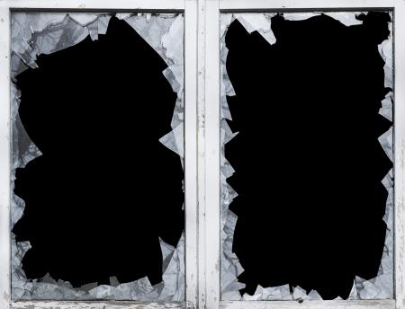 vidrio roto: rotura de cristales, casco, roto, ventana, peligro Foto de archivo