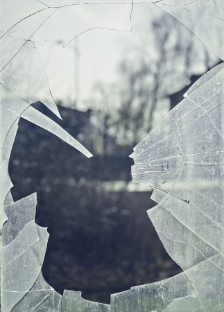 shard of glass: glass breakage, shard, smashed, window, danger Stock Photo