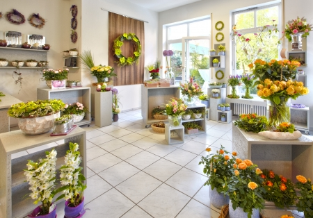 shop interior: Salesroom a flower shop with flower