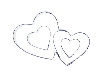 cookie cutter: Two hearts of metal as baking cups
