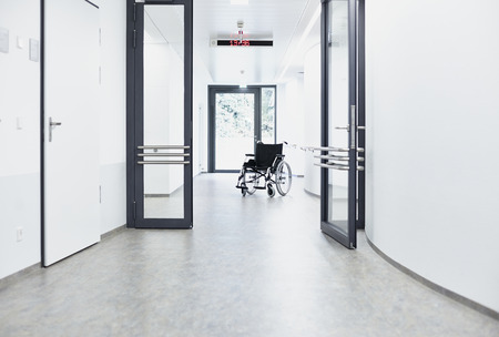 Wheelchair in the corridor in the hospital