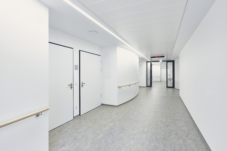 White empty corridor in a hospital Stock Photo