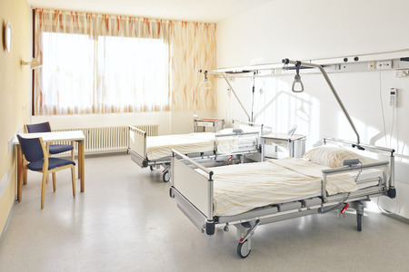 without people: Hospital room with two beds without people Stock Photo