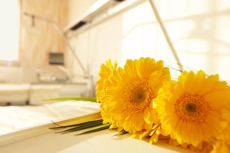Kamer met bed en bloemen in het ziekenhuis Stockfoto - 27491145