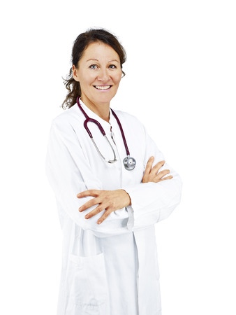 exempted: Doctor exempted in front of white background